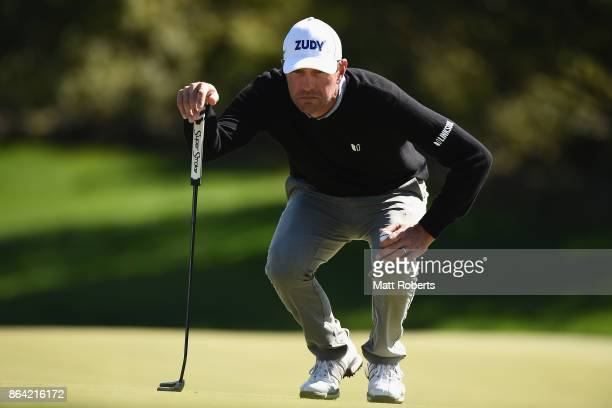 Lucas Glover of the United States prepares to putt on the 6th green during the third round of the CJ Cup at Nine Bridges on October 21 2017 in Jeju...