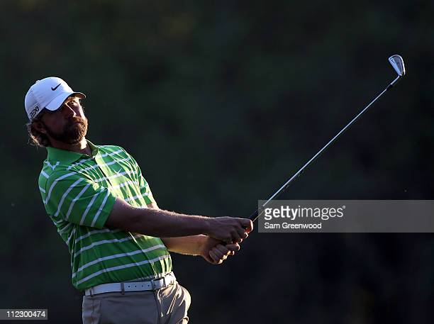 Lucas Glover plays a shot during the first round of the Transitions Championship at Innisbrook Resort and Golf Club on March 17 2011 in Palm Harbor...