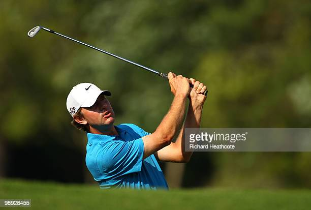 Lucas Glover plays his second shot on the 14th hole during the third round of THE PLAYERS Championship held at THE PLAYERS Stadium course at TPC...