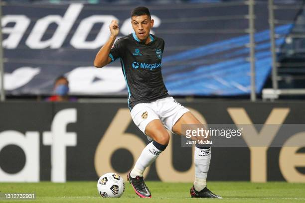 Lucas González of Atletico Pantoja controls the ball during a second leg match between Monterrey and Atletico Pantoja as part of Round of Sixteen of...