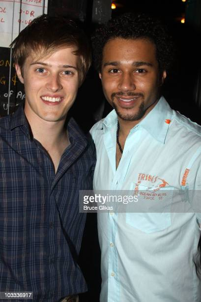 Lucas Grabeel and Corbin Bleu pose backstage at In The Heights on Broadway at the Richard Rodgers Theatre on August 10 2010 in New York City