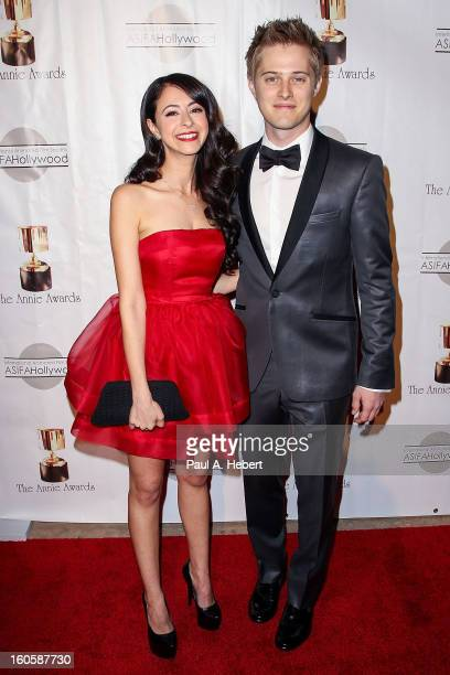 Lucas Grabeel and Jessica DiCicco arrive at the 40th Annual Annie Awards held at Royce Hall on the UCLA Campus on February 2 2013 in Westwood...