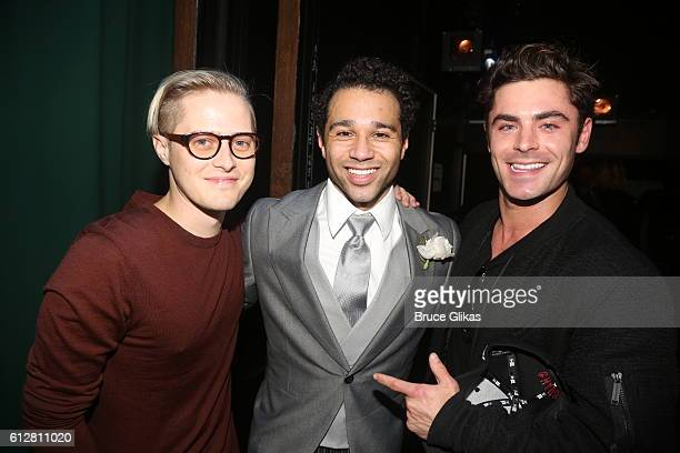 Lucas Grabeel Corbin Bleu and Zac Efron pose backstage at the hit New Irving Berlin Musical Holiday Inn on Broadway at Studio 54 on October 4 2016 in...