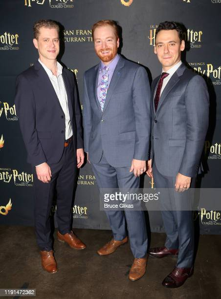 Lucas Hall David Abeles and John Skelley pose at the opening night after party for Harry Potter and The Cursed Child Parts One 2 at August Hall on...