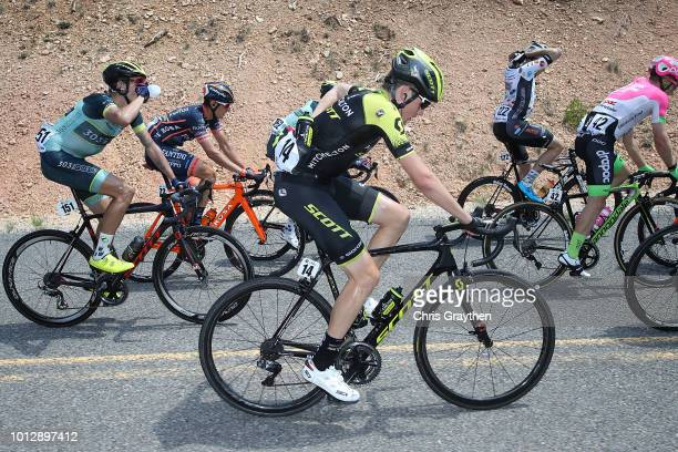 Lucas Hamilton of Australia and Team Mitchelton Scott / Bottle / Feed zone / Isaiah Newkirk of The United States and Team 303 Project / Damiano Cima...