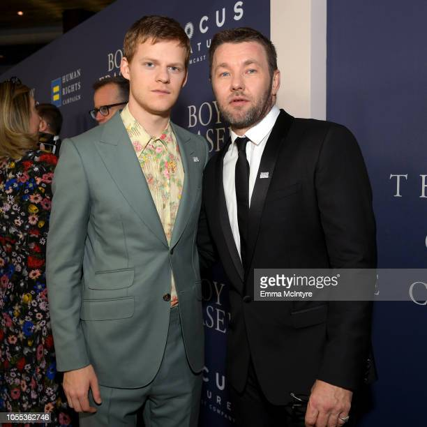 Lucas Hedges and Joel Edgerton attend the premiere of Focus Features' Boy Erased at Directors Guild Of America on October 29 2018 in Los Angeles...
