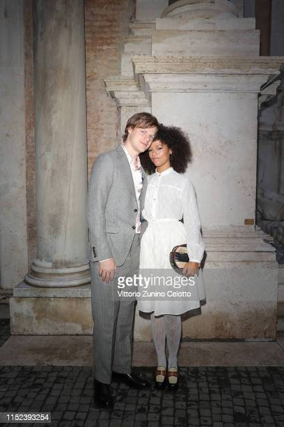 Lucas Hedges and Taylor Russel arrive at the Gucci Cruise 2020 at Musei Capitolini on May 28 2019 in Rome Italy