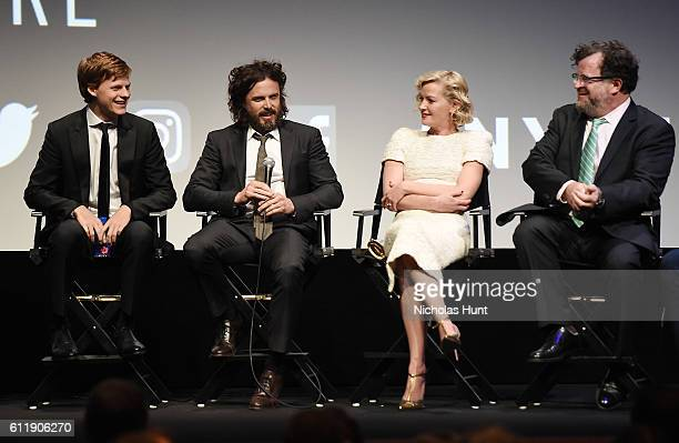 Lucas Hedges Casey Affleck Gretchen Mol and Kenneth Lonergan attend the 'Manchester by the Sea' intro and QA during the 54th New York Film Festival...