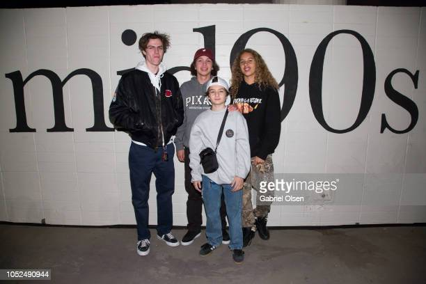 Lucas Hedges Gio Galicia and Sunny Suljic Olan Prenatt arrive for the premiere of A24's Mid90s at West LA Courthouse on October 18 2018 in Los...