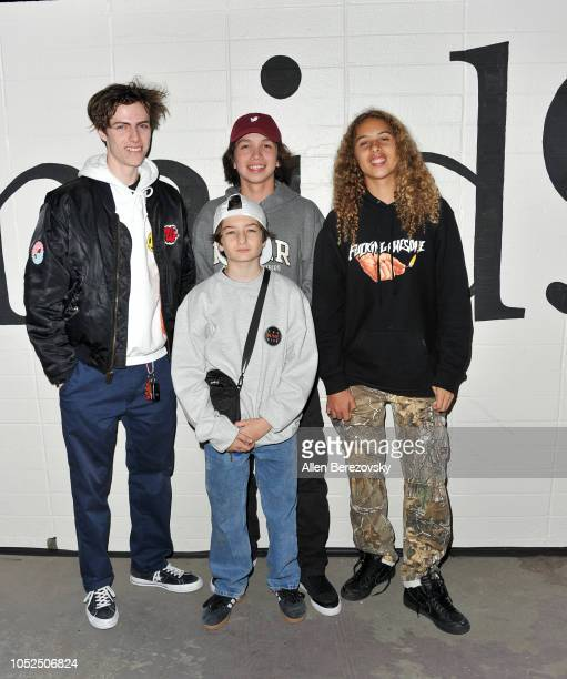 Lucas Hedges Gio Galicia Sunny Suljic and Olan Prenatt attend the premiere of A24's Mid90s at West LA Courthouse on October 18 2018 in Los Angeles...