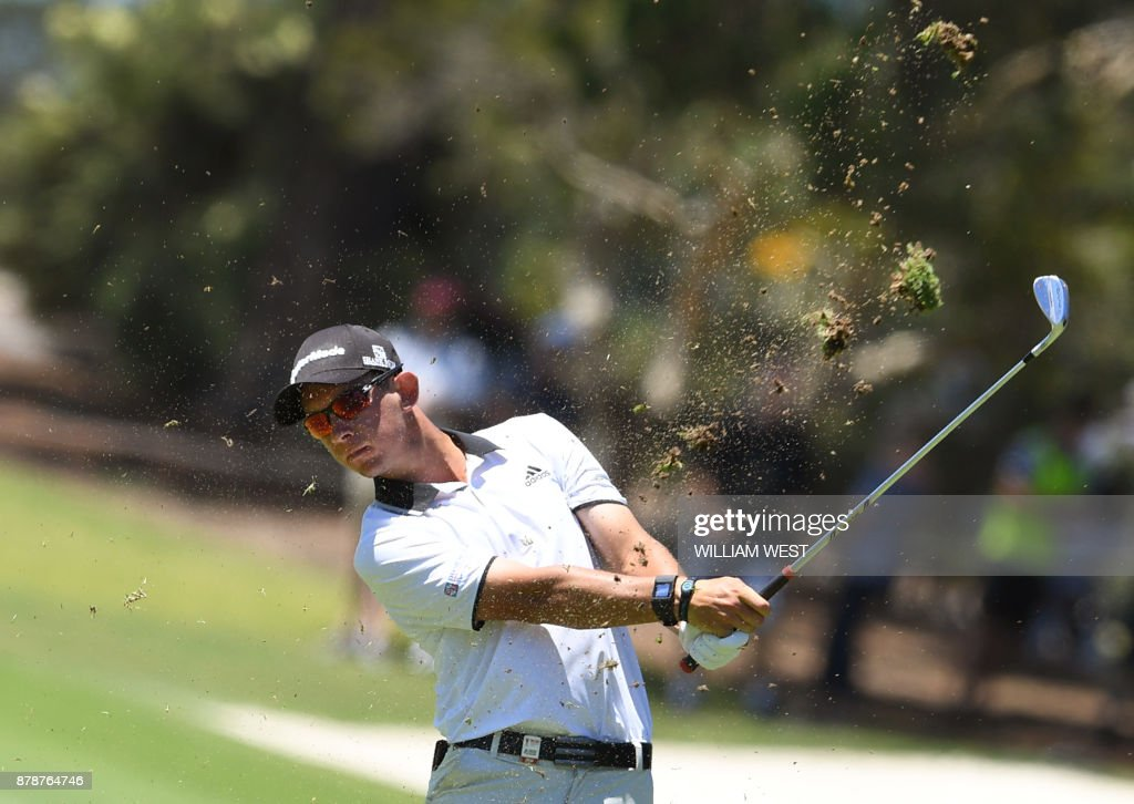 Lucas Herbert of Australia hits to the green during the third round of the Australian Open played at the Australian Golf Club course in Sydney on November 25, 2017. /