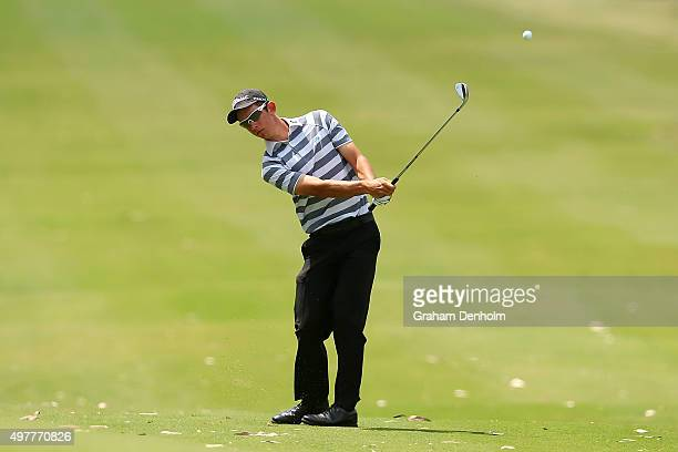 Lucas Herbert of Australia plays a shot from the fairway during day one of the 2015 Australian Masters at Huntingdale Golf Course on November 19,...