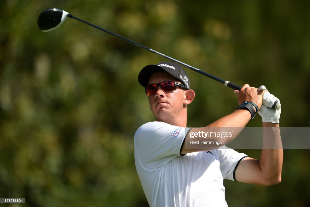 Lucas Herbert of Australia plays his tee shot on the 16th hole during day three of the 2017 Australian Golf Open at The Australian Golf Club on November 25, 2017 in Sydney, Australia.