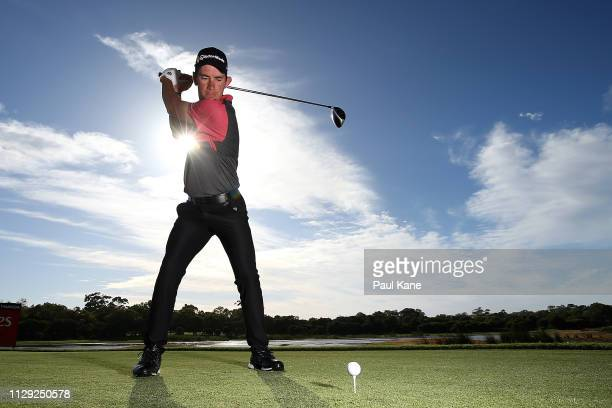 Lucas Herbert of Australia poses on the 3rd tee during the Pro-Am of the ISPS Handa World Super 6 Perth at Lake Karrinyup Country Club on February...