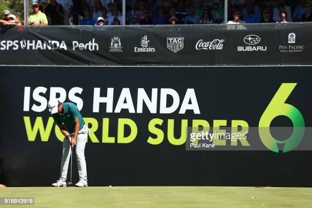 Lucas Herbert of Australia putts on the 6th green in the semi final match against Kiradech Aphibarnrat of Thailand during day four of the World Super...