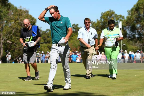 Lucas Herbert of Australia walks from the 6th green after being defeated in the semi final match against Kiradech Aphibarnrat of Thailand during day...