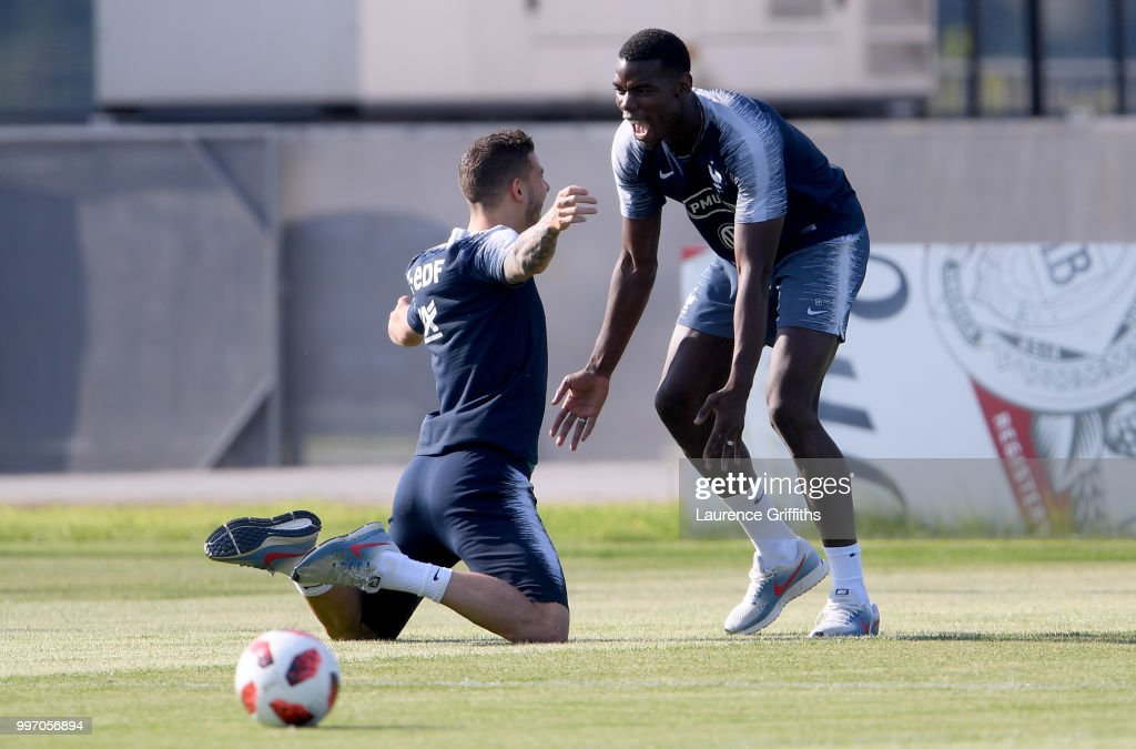 Lucas Hernandez and Paul Pogba celebrate during a France trainig session on July 12, 2018 in Moscow, Russia.