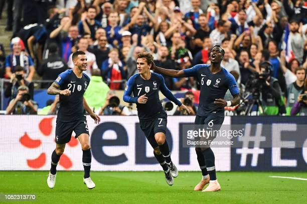 Lucas Hernandez Antoine Griezmann and Paul Pogba of France celebrate Antoine Griezmann goal's during the UEFA Nations League A group one match...