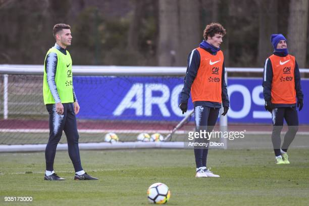 Lucas Hernandez Benjamin Pavard and Antoine Griezmann of France during training session at Centre National du Football on March 20 2018 in...