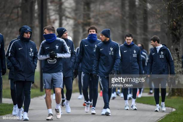 Lucas Hernandez Benjamin Pavard Corentin Tolisso and team of France during a training session at Centre National du Football on March 19 2018 in...