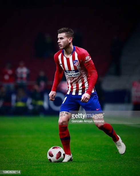 Lucas Hernandez of Atletico de Madrid controls the ball during the Copa del Rey fourth round second leg match between Atletico Madrid and Sant Andreu...
