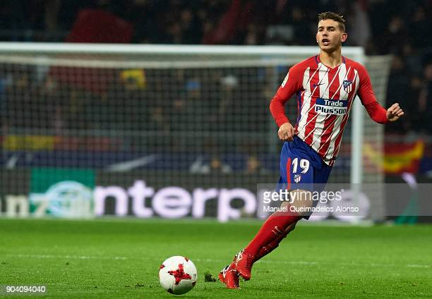 Lucas Hernandez of Atletico de Madrid in action during the Copa del Rey Round of 16 second Leg match between Atletico de Madrid and Lleida on January...