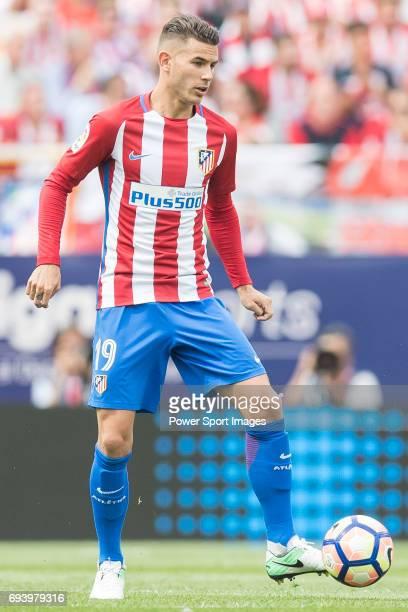 Lucas Hernandez of Atletico de Madrid in action during the La Liga match between Atletico de Madrid and Athletic de Bilbao at the Estadio Vicente...