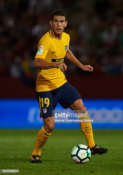 Lucas Hernandez of Atletico de Madrid in action during the La Liga match between Girona and Atletico Madrid at Municipal de Montilivi Stadium on...