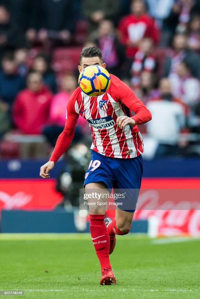 Lucas Hernandez of Atletico de Madrid in action during the La Liga 2017-18 match between Atletico de Madrid and UD Las Palmas at Wanda Metropolitano on January 28 2018 in Madrid, Spain.