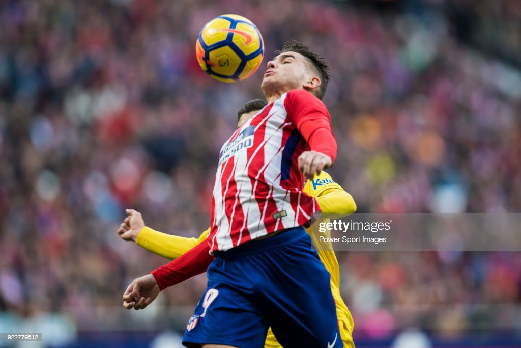 Lucas Hernandez of Atletico de Madrid in action during the La Liga 2017-18 match between Atletico de Madrid and UD Las Palmas at Wanda Metropolitano on January 28 2018 in Madrid, Spain.