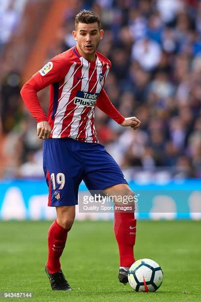 Lucas Hernandez of Atletico de Madrid in action during the La Liga match between Real Madrid and Atletico Madrid at Estadio Santiago Bernabeu on...