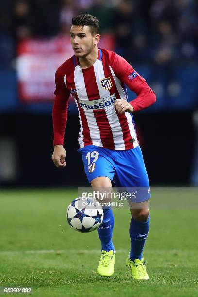 Lucas Hernandez of Atletico de Madrid in action during the UEFA Champions League Round of 16 second leg match between Club Atletico de Madrid and...