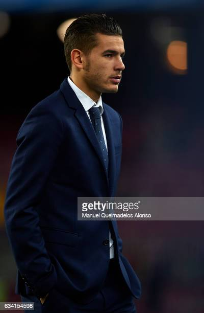 Lucas Hernandez of Atletico de Madrid looks on prior to the Copa del Rey semifinal second leg match between FC Barcelona and Atletico de Madrid at...