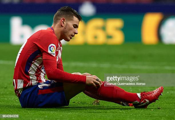 Lucas Hernandez of Atletico de Madrid reacts on the pitch during the Copa del Rey Round of 16 second Leg match between Atletico de Madrid and Lleida...
