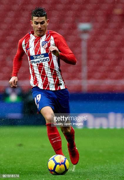 Lucas Hernandez of Atletico de Madrid runs with the ball during the La Liga match between Atletico de Madrid and Getafe at Estadio Wanda...