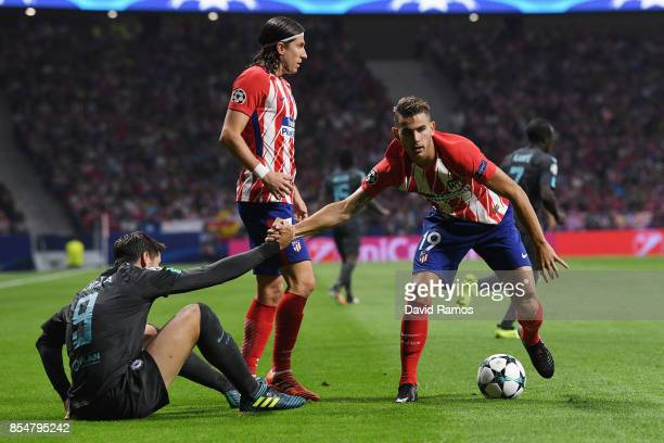 Lucas Hernandez of Atletico Madrid and Alvaro Morata of Chelsea during the UEFA Champions League group C match between Atletico Madrid and Chelsea FC...