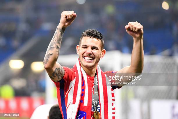 Lucas Hernandez of Atletico Madrid celebrates the victory during the Europa League Final match between Marseille and Atletico Madrid at Groupama...