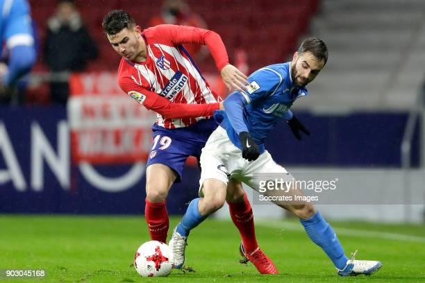Lucas Hernandez of Atletico Madrid Jorge Felix of Lleida during the Spanish Copa del Rey match between Atletico Madrid v Lleida on January 9 2018