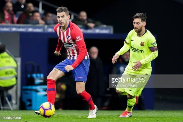 Lucas Hernandez of Atletico Madrid Lionel Messi of FC Barcelona during the La Liga Santander match between Atletico Madrid v FC Barcelona at the...