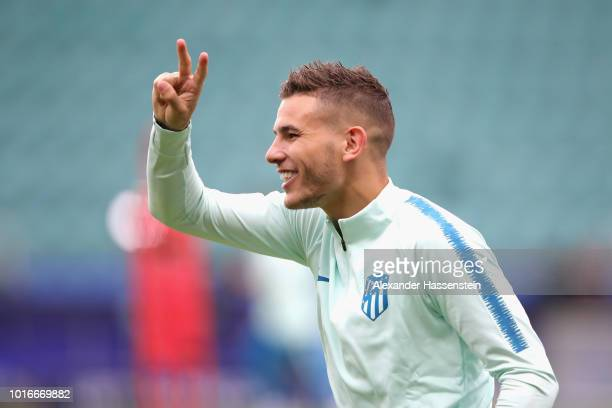 Lucas Hernandez of Atletico Madrid smiles during a training session ahead of the UEFA Super Cup match against Real Madrid CF at Lillekuela Stadium on...