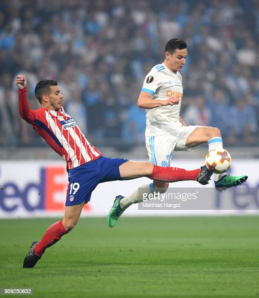 Lucas Hernandez of Atletico Madrid tackles Florian Thauvin of Marseille during the UEFA Europa League Final between Olympique de Marseille and Club...