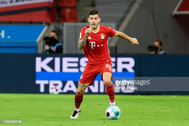 Lucas Hernandez of Bayern Muenchen controls the ball during the Bundesliga match between Bayer 04 Leverkusen and FC Bayern Muenchen at BayArena on...