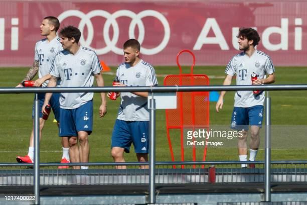 Lucas Hernandez of Bayern Muenchen, Javi Martinez of Bayern Muenchen, Lukas Mai of Bayern Muenchen and Alvaro Odriozola of Bayern Muenchen look on...