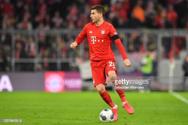 Lucas Hernandez of Bayern Muenchen plays the ball during the Bundesliga match between FC Bayern Muenchen and SC Paderborn 07 at Allianz Arena on...