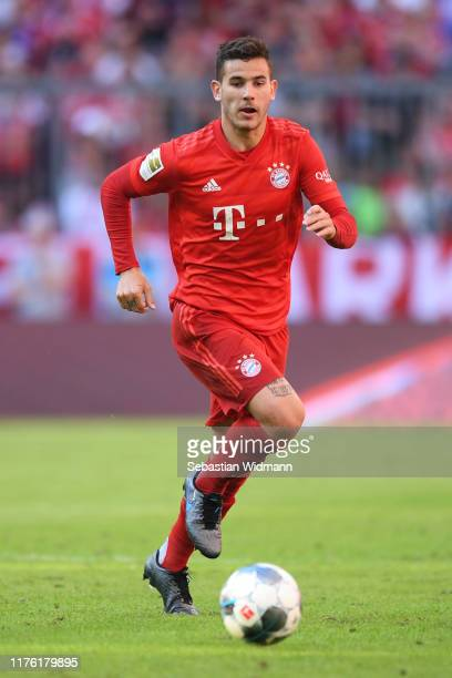 Lucas Hernandez of Bayern Munich plays the ball during the Bundesliga match between FC Bayern Muenchen and 1. FC Koeln at Allianz Arena on September...