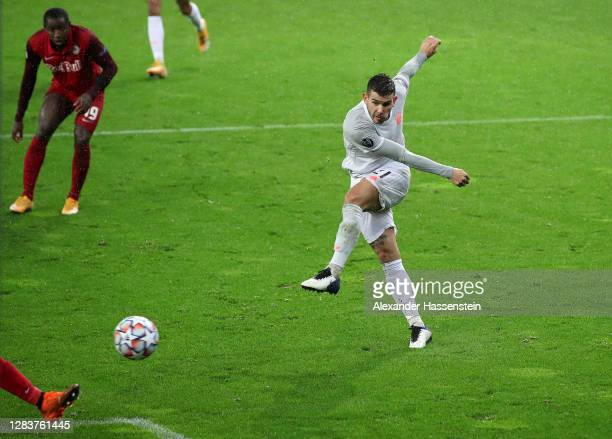 Lucas Hernandez of Bayern Munich scores his sides sixth goal during the UEFA Champions League Group A stage match between RB Salzburg and FC Bayern...