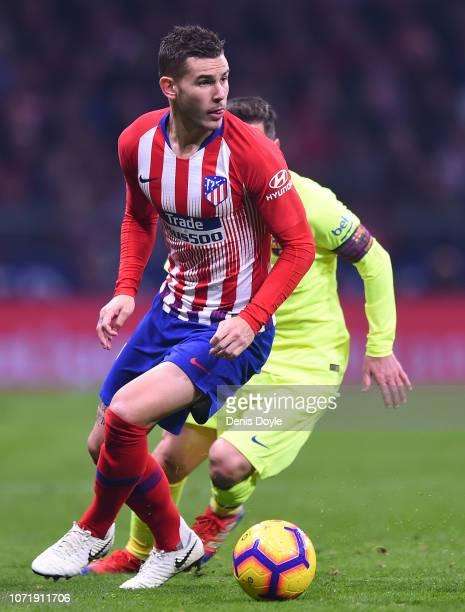 Lucas Hernandez of Club Atletico de Madrid in action during the La Liga match between Club Atletico de Madrid and FC Barcelona at Wanda Metropolitano...
