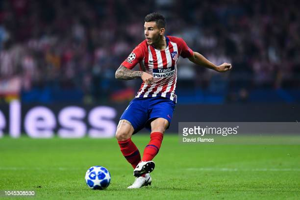 Lucas Hernandez of Club Atletico de Madrid runs with the ball during the Group A match of the UEFA Champions League between Club Atletico de Madrid...