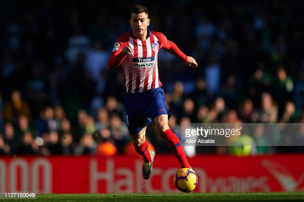 Lucas Hernandez of Club Atletico de Madrid runs with the ball during the La Liga match between Real Betis Balompie and Club Atletico de Madrid at...