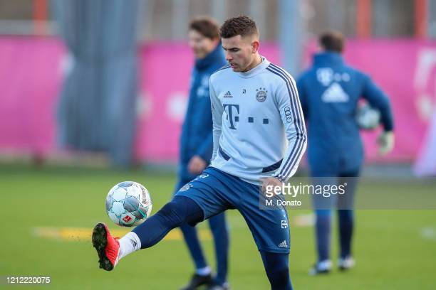 Lucas Hernandez of FC Bayern Muenchen controls the ball during a training session at Saebener Strasse training ground on March 13 2020 in Munich...